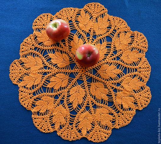 Оранжевая салфетка крючком. Нежная, яркая, красивая