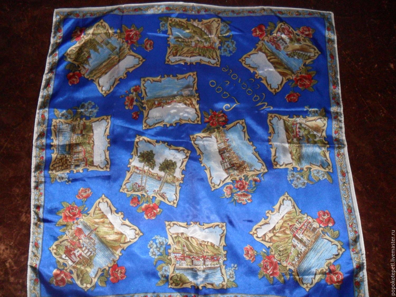 Scarf with a story,100% silk,Italy, Vintage accessories, Novorossiysk,  Фото №1
