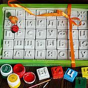 Набор алфавит, азбука - раскраска кубики в коробке