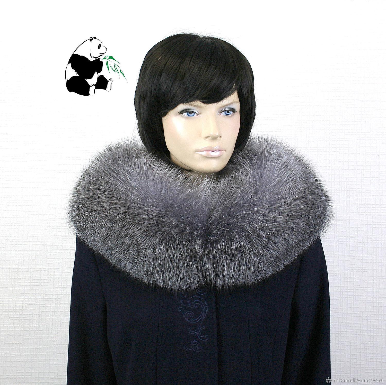Fur collar Snood fur silver Fox breed Blue frost No. №4, Collars, Ekaterinburg,  Фото №1