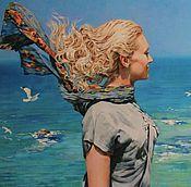 Картины и панно ручной работы. Ярмарка Мастеров - ручная работа Портрет маслом на холсте с пейзажем.. Handmade.