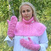 Аксессуары handmade. Livemaster - original item Sets of headgear: Downy Winter set of mittens and shirt front. Handmade.