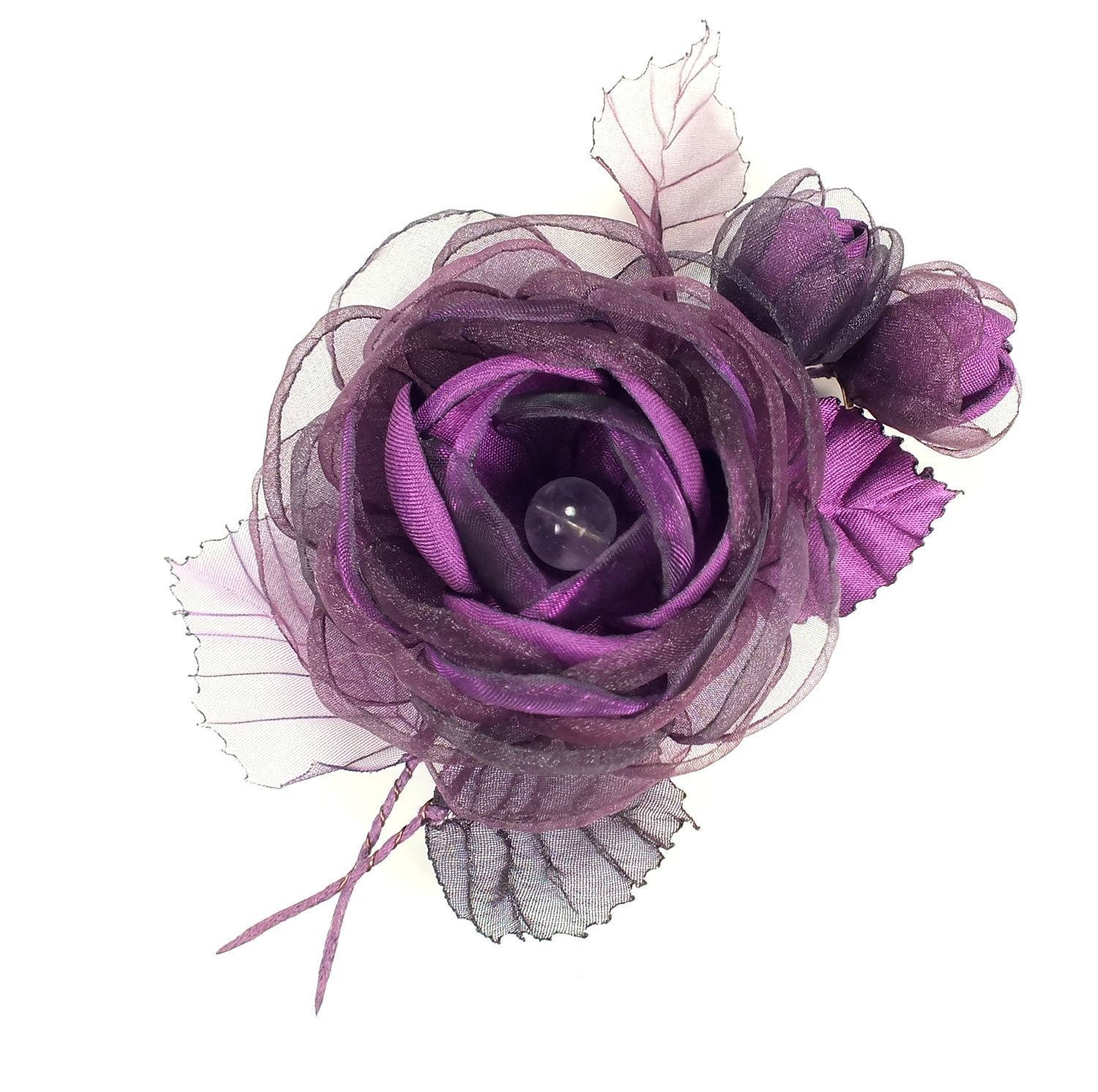 Plum Waltz. Brooch with handmade flowers from fabric. BOUQUET, Brooches, St. Petersburg,  Фото №1