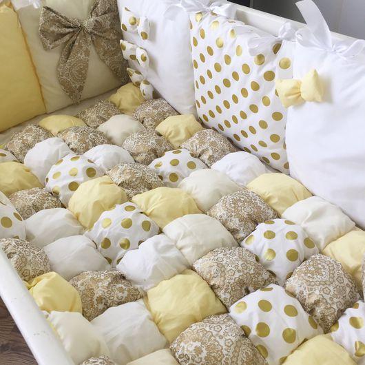 """Для новорожденных, ручной работы. Ярмарка Мастеров - ручная работа. Купить Комплект в кроватку """"золотая ночь"""". Handmade. Комплект в кроватку"""