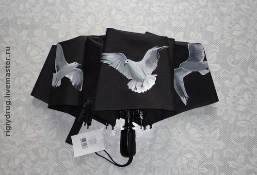 Зонты ручной работы. Ярмарка Мастеров - ручная работа. Купить Зонт с Чайками. Handmade. Зонт, подарок на любой случай