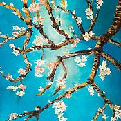 Картины и панно handmade. Livemaster - original item Oil painting Almond tree white flowers on blue background. Handmade.