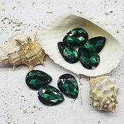 Материалы для творчества handmade. Livemaster - original item Rhinestones drops 18/13 mm Emerald. Handmade.