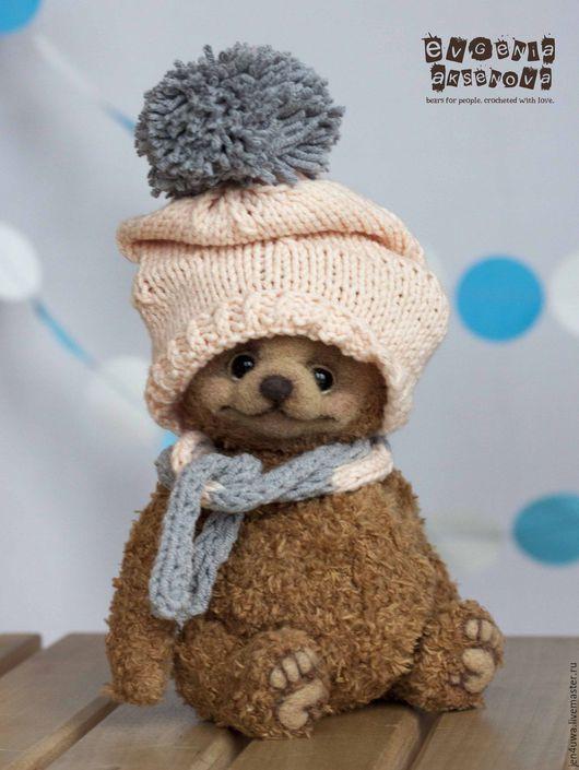 Мишки Тедди ручной работы. Ярмарка Мастеров - ручная работа. Купить Тишка. Handmade. Бледно-розовый, шапка с помпоном, пряжа