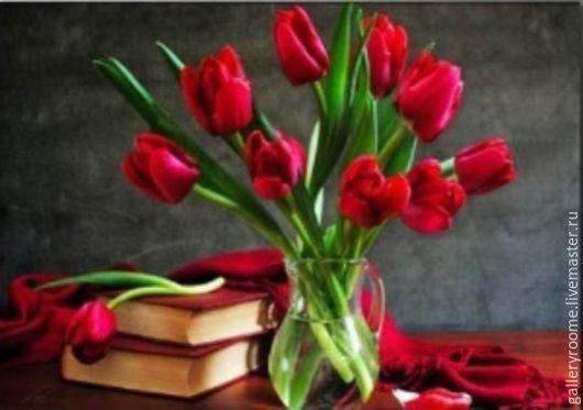 Другие виды рукоделия ручной работы. Ярмарка Мастеров - ручная работа. Купить Картина раскраска по номерам на холсте Яркие тюльпаны. Handmade.