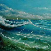 """Картины и панно ручной работы. Ярмарка Мастеров - ручная работа Картина маслом """"Море. Волны. Яхты"""". Handmade."""
