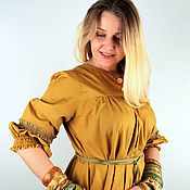 Одежда handmade. Livemaster - original item Blouse made of cotton mustard. Handmade.