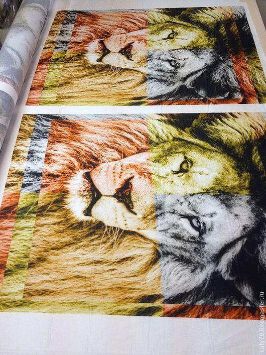"""Шитье ручной работы. Ярмарка Мастеров - ручная работа. Купить Сатин """"Король Лев"""". Handmade. Лев, хлопок, ткани для шитья"""