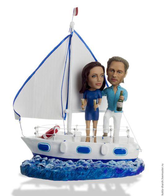 Подарки для влюбленных ручной работы. Ярмарка Мастеров - ручная работа. Купить Vip-Статуэтка по фото паре«На яхте» 45 см. Handmade.