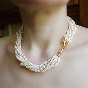 Украшения handmade. Livemaster - original item Multi-row necklace mother of Pearl Pearl natural Zircons. Handmade.