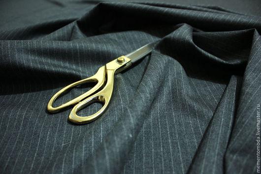 """Шитье ручной работы. Ярмарка Мастеров - ручная работа. Купить Ткань костюмная шерсть """"Классическая полосочка"""". Handmade. Темно-серый"""
