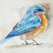 """Картины и панно ручной работы. Ярмарка Мастеров - ручная работа Акварель """"Синяя птица"""". Handmade."""