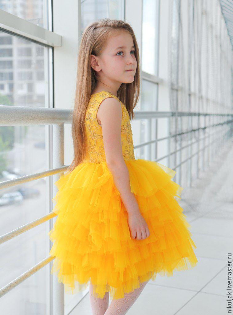 Платье желтое для девочек купить