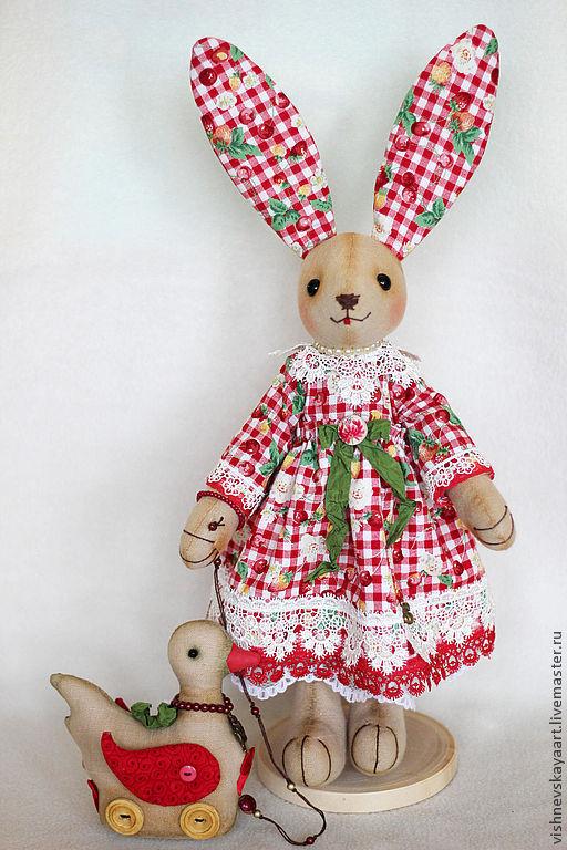 Куклы Тильды ручной работы. Ярмарка Мастеров - ручная работа. Купить Зайка интерьерная. Handmade. Ярко-красный, тильда