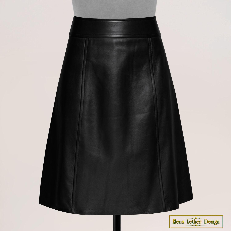 Trapeze skirt 'Yoke' made of genuine leather, Skirts, Rodniki,  Фото №1