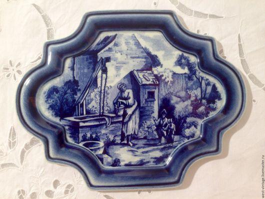 Люди, ручной работы. Ярмарка Мастеров - ручная работа. Купить Изразец керамический, Boch, Бельгия.. Handmade. Синий, кобальтовый, boch