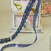 Материалы для творчества ручной работы. Ярмарка Мастеров - ручная работа Ажурное синее кружево. Handmade.
