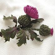 Украшения handmade. Livemaster - original item Leather brooch leather flower barrette THISTLEH-3. Natural suede. Handmade.