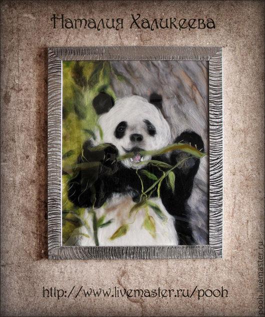 """Животные ручной работы. Ярмарка Мастеров - ручная работа. Купить """"Панда."""" Картина из войлока. Handmade. Панда, картина"""