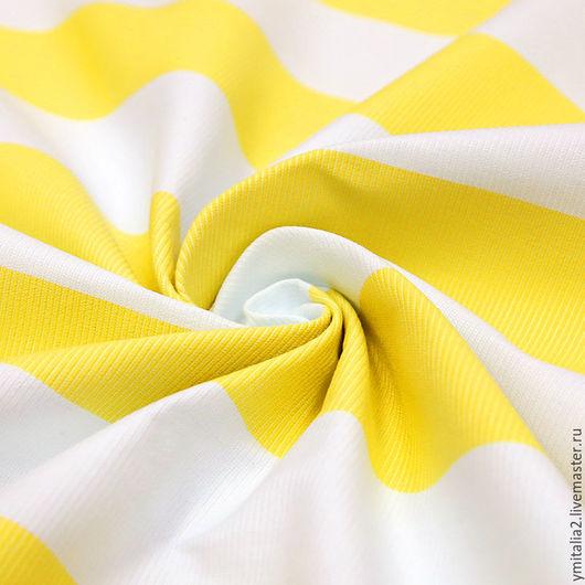 Шитье ручной работы. Ярмарка Мастеров - ручная работа. Купить Хлопковый репс в бело-желтую полоску D&G. Handmade. Желтый