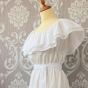 Одежда ручной работы. Ярмарка Мастеров - ручная работа Белое батистовое платье с воланом. Handmade.