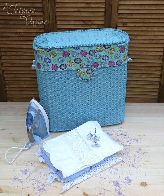 """Корзины, коробы ручной работы. Ярмарка Мастеров - ручная работа. Купить Плетеная корзина для белья """"Blue"""". Handmade. Голубой, для дома"""