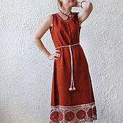 "Одежда handmade. Livemaster - original item Linen sundress with lace ""Wild rose"". Handmade."
