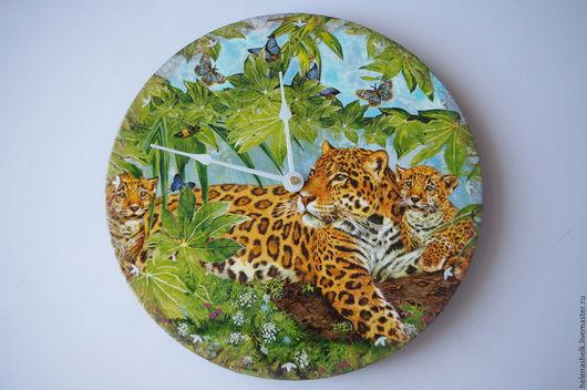 """Часы для дома ручной работы. Ярмарка Мастеров - ручная работа. Купить Часы настенные """" Семейство леопардов :-)) """". Handmade."""