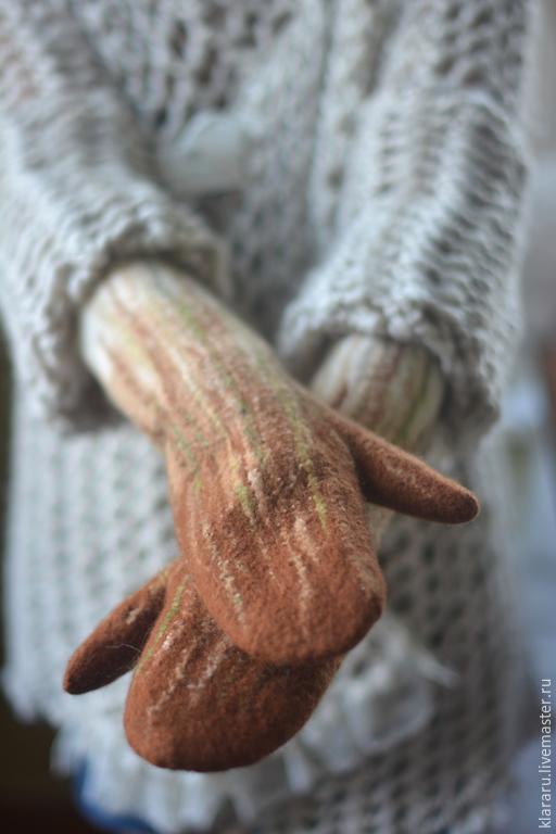 """Варежки, митенки, перчатки ручной работы. Ярмарка Мастеров - ручная работа. Купить Варежки """"Пряности"""", шерсть, женские варежки, коричневые варежки. Handmade."""