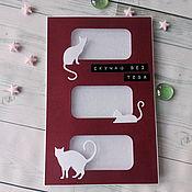 Открытки handmade. Livemaster - original item !Handmade postcard style CAS, Bored cat. Handmade.