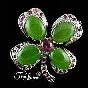 Pendants handmade. Livemaster - original item Brooch pendant `Clover luck` with natural stones. Handmade.