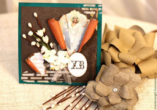 Открытки к Пасхе ручной работы. Ярмарка Мастеров - ручная работа. Купить Пасхальная открытка. Handmade. Тёмно-зелёный, пасхальный подарок