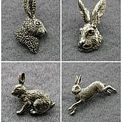 Значок ручной работы. Ярмарка Мастеров - ручная работа Значки броши ЗАЯЦ КРОЛИК hare rabbit pin brooch badge. Handmade.