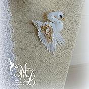 Украшения handmade. Livemaster - original item brooch. Miniature brooch Swan
