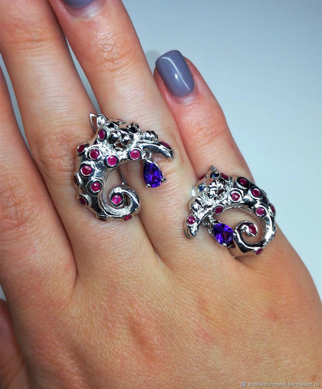 Wild cat earrings with rubies and amethysts, Earrings, Novaya Usman,  Фото №1