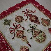 Подарки к праздникам ручной работы. Ярмарка Мастеров - ручная работа новогодняя салфетка. Handmade.