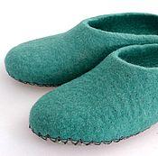 Обувь ручной работы handmade. Livemaster - original item Turquoise Slippers on the sole. Handmade.