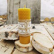 Свечи ручной работы. Ярмарка Мастеров - ручная работа Свеча из вощины 13 см. Handmade.