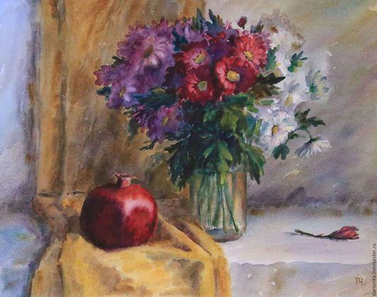 Картины цветов ручной работы. Ярмарка Мастеров - ручная работа. Купить Акварель Натюрморт с гранатом и хризантемами №2. Handmade. Бордовый