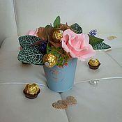 Цветы и флористика ручной работы. Ярмарка Мастеров - ручная работа Букет учителю, букет из конфет на день рождения, весенний. Handmade.