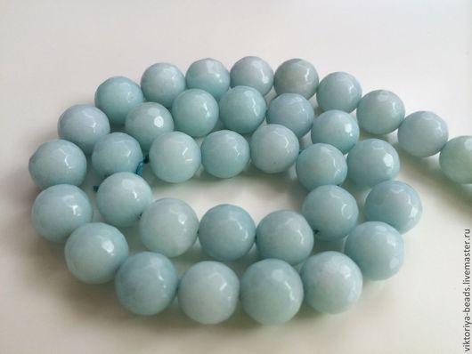 Для украшений ручной работы. Ярмарка Мастеров - ручная работа. Купить Агат голубой бусины 10 мм огранка. Handmade.