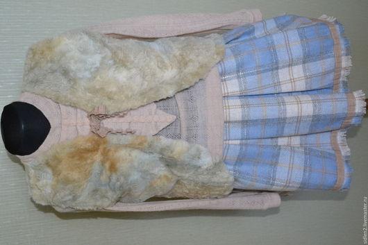 Одежда для девочек, ручной работы. Ярмарка Мастеров - ручная работа. Купить Комплект  юбка и меховой жилет!. Handmade. Голубой, шерсть