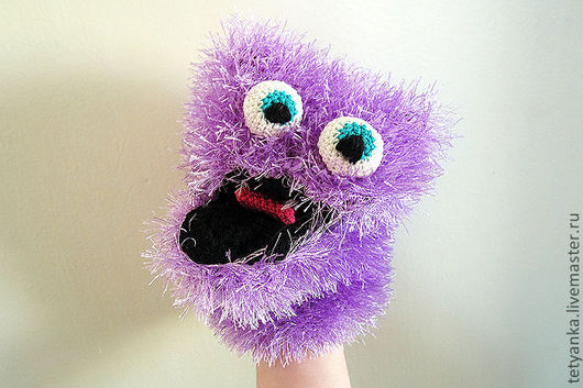 """Развивающие игрушки ручной работы. Ярмарка Мастеров - ручная работа. Купить Кукла на руку """"Мохнатик"""". Handmade. Сиреневый, кукла на руку"""