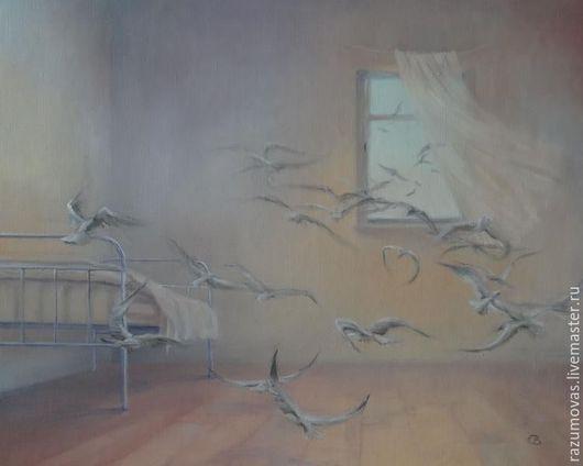 """Фэнтези ручной работы. Ярмарка Мастеров - ручная работа. Купить Картина маслом """"Птицы в комнате"""" 40 на 50. Handmade. Комбинированный"""