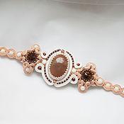 Украшения handmade. Livemaster - original item Soutache bracelet rose white solar stone swarovski crystals. Handmade.