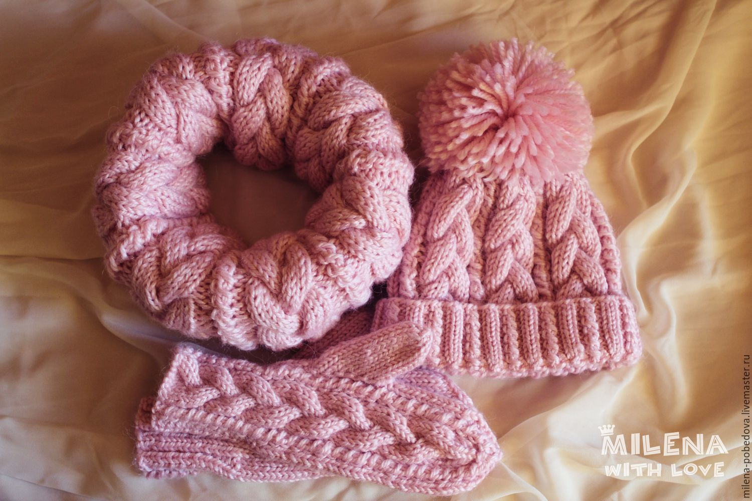 Set knitted Marshmallow, knitted hat, scarf and mittens, Headwear Sets, Minsk,  Фото №1